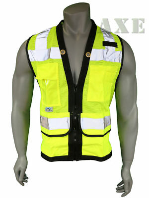 Pyramex Safety Vest Class 2 Heavy Duty Surveyor Lime