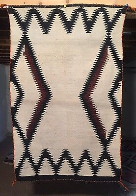 1940 NAVAJO Open Field RUG BLANKET 35x55 Weaving Textile Native American