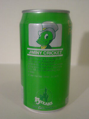 1986 12 oz. SPRITE CAN 15 YEARS DISNEY WORLD ( JIMINY CRICKET ) BOTTOM OPENED!