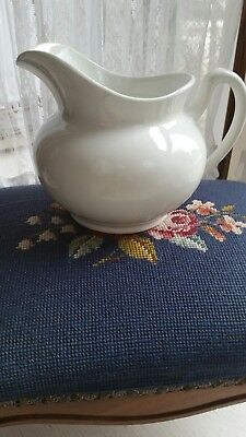 Early White Ironstone China Pitcher Farmhouse Cottage Chic Shabby