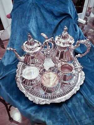 Baroque by Wallace Silver-plate Six Piece Coffee and Tea Set