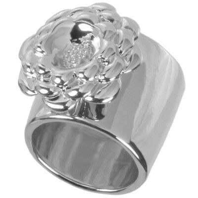 Rhodium Plated Cactus Flower Statement Ring by Zoetik