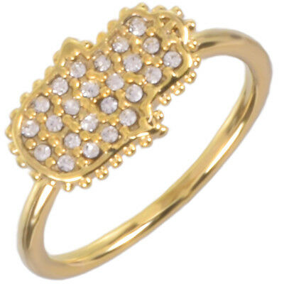 16k Gold Plated Hamsa Pave Ring with Clear Czech Crystals by Zoetik