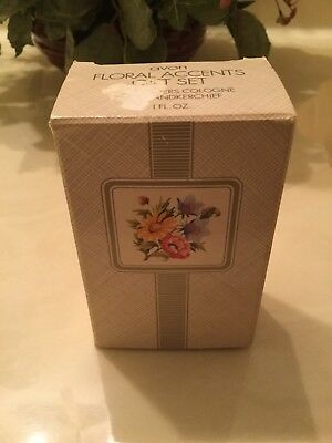 Avon Floral Accents Gift Set ~ FIELD FLOWERS COLOGNE and HANKERCHIEF, VINTAGE