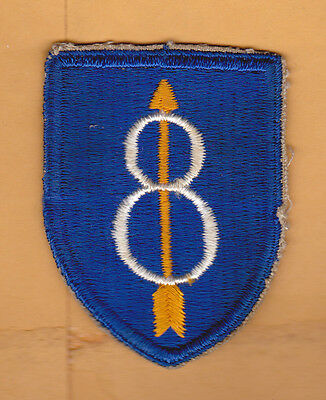 US ARMY 8th Infantry Division Patch, WWII, Removed From Uniform, EXC