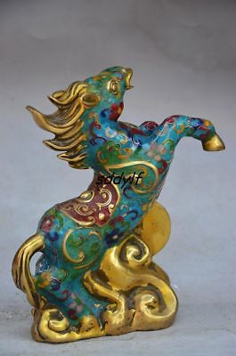 BEAUTIFUL CHINESE OLD CLOISONNE HANDMADE LIFELIKE HORSE STATUE zrf