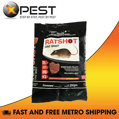 Ratshot One Shot 250gm Rodenticide Pellets *One Feed Kills Rats and Mice*