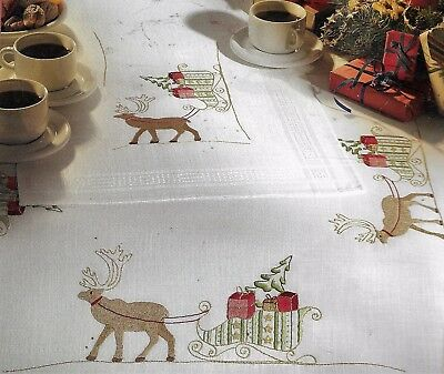 "Modern ""Scandi""Reindeer tablecloth KIT to embroider. Hand Stamped 100% cotton  ."