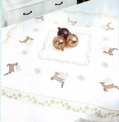 "Modern ""Scandi"" Reindeer tablecloth KIT to embroider.Stamped 100% cotton 80cm ."