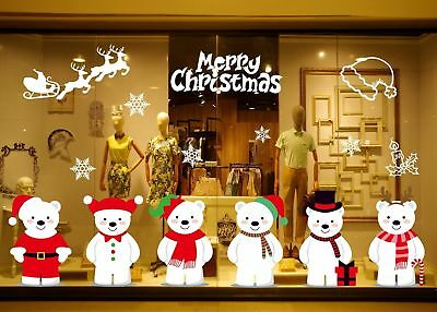 Christmas Window Sticker Removable Glass Wall Home Party Shop Xmas Decoration