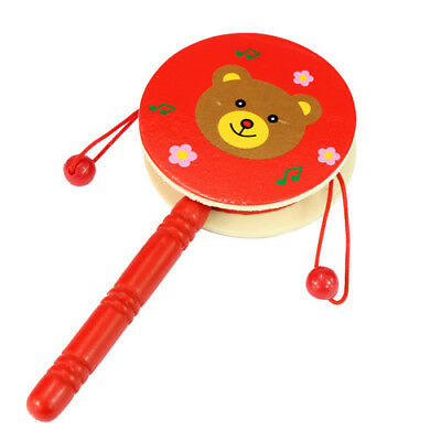 Wooden Toys Cartoon Children's Toys Drum-shaped Rattle Horn Music Toy