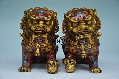 CHINA CLOISONNE ENAMEL GILT FOO FU DOG GUARDION LION LEO ANIMAL PAIR STATUE zrF