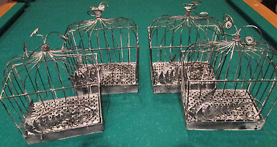 4 Metal Decorative Bird Houses/Cages