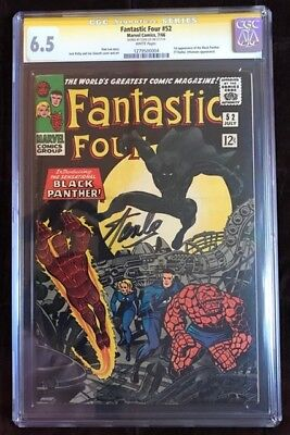Fantastic Four #52 (Jul 1966) CGC 6.5 Signed by Stan Lee (1st app Black Panther)