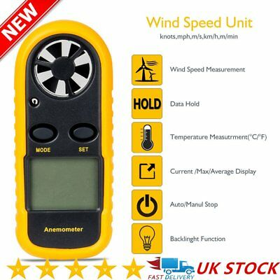 Air Wind Speed Meter Velocity Digital LCD Handheld Anemometer Thermometer