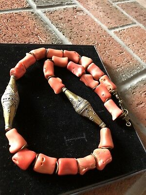 Vintage Salmon Orange bamboo coral and Turkmen brass bicone Handmade necklace.