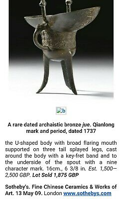 A Rare Chinese Dated Archaistic Bronze Jue. Qianlong Mark And Period, Dated 1737
