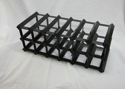 14 OR 18 Bottle Onyx Black Timber Wine Rack -Genuine BORDERS Product