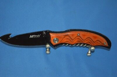 Mtech Usa 440 Steel Linerlock Pocket Knife Gut Hook Blade W/ Faux Wood Handle