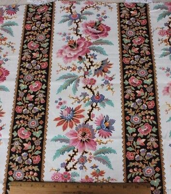 Antique French Chinoiserie Printed Home Dec Cotton Fabric Textile c1870-80