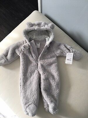 Just One You By Carter's Gray Fleece Snowsuit- Size Newborn