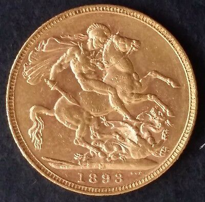 1893 Australia One Sovereign Gold ( .916 ) coin Queen Victoria M Mintmark