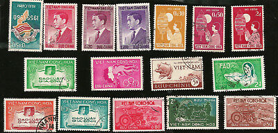 SOUTH VIETNAM OLD STAMPS FROM 1950s PRES. NGO DINH DIEM UPU FAMILY & JUSTICE ETC