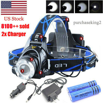 900000LM Rechargeable Head light LED Tactical Headlamp Zoomable+2x Charger+18650