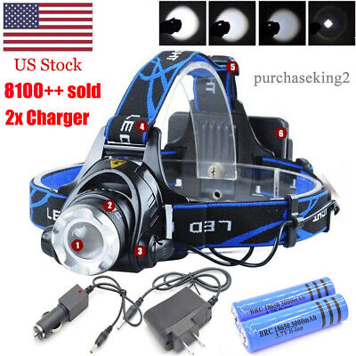 Upgraded 250000LM Rechargeable Headlight LED Tactical Headlamp 18650 Head Lamp