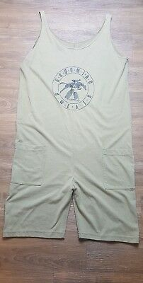 VINTAGE GROOMING SWEATS one piece sweat suit USA made M womens OLIVE GREEN