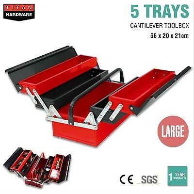 5 Tray Cantilever Tool Box Storage Toolbox Metal Mechanic Organiser Chest Drawer