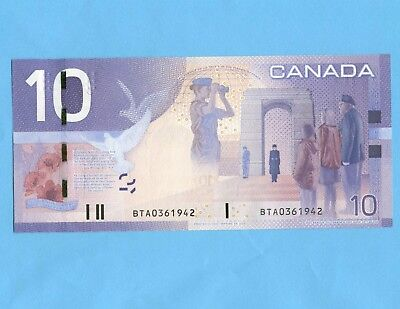 $10 2005 Bank Of Canada BTA0361942 C-Uncirculated  Birthday Serial numbers