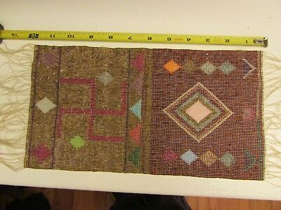ANTIQUE WHIRLING LOG BEADWORK PANEL likely Great Lakes  for 2 sided tobacco bag?