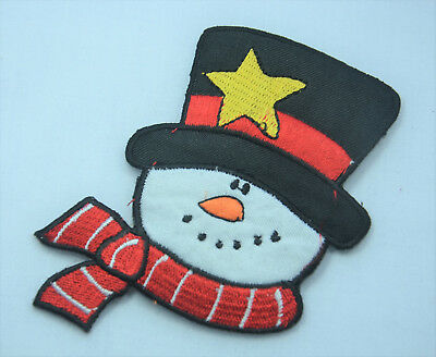 CHRISTMAS XMAS SNOWMAN 9cm Embroidered Iron Sew On Cloth Patch Badge APPLIQUE