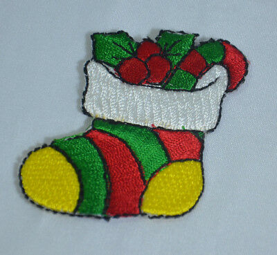 CHRISTMAS XMAS PUPPY DOG 7cm Embroidered Iron Sew On Cloth Patch Badge APPLIQUE