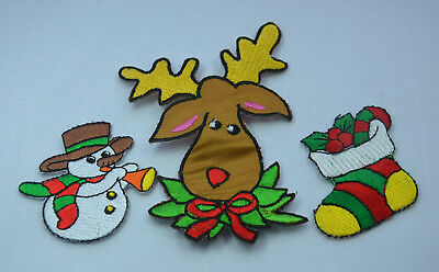 CHRISTMAS XMAS PATCHES Embroidered Iron Sew On Cloth Patch Badge APPLIQUE SET 1