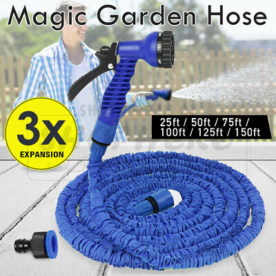 Magic Expandable Flexible Garden Hose Pipe Spray Nozzle 25 50 75 100 125 150Ft