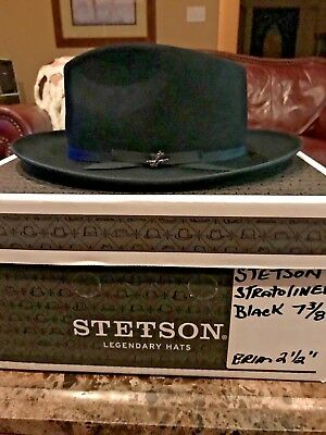 "Stetson ""stratoliner"" Royal Stetson Black Size 7 3/8 Great Fedora!"