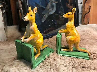 Pair of Vintage StYle Cast Iron Kangaroo Formed Book End Stands