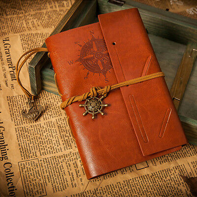 Vintage Classic Retro Leather Notepad Notebook Blank Pirate Journal Travel Diary