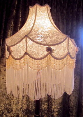 Standard Lamp- Antique Gorgeous Wooden Claw Footed Base With Beaded Ivory Shade