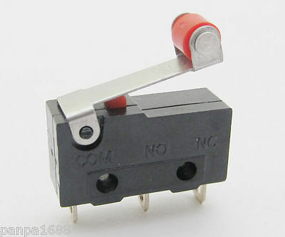 500x Mini Micro Switch Roller Lever Limit Switch Normal Open/Close 5A 20x10mm UK