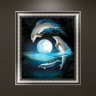 Night Moon Dolphins DIY 5D Diamond Embroidery Painting Cross Stitch Craft Decor