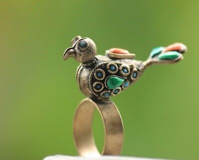 Rare Old Stunning Bird Ring  Islamic Agate  Bronze Ring  size  9