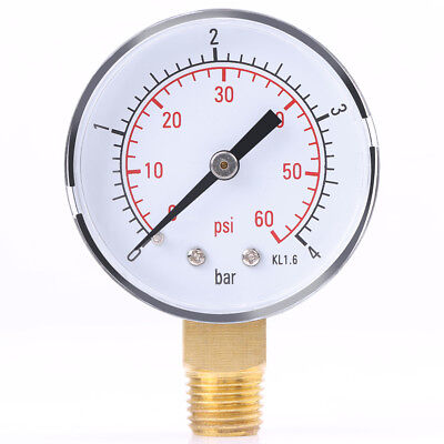 1PC Mini Water Pressure Gauge For Fuel Air Oil Or Water 0-4bar / 0-60psi  NPT SR