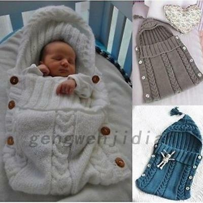 Newborn Baby Knit Crochet Swaddle Wrap Swaddling Blanket Soft Sleeping Bag UK