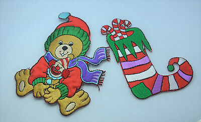 CHRISTMAS STOCKING XMAS BEAR Embroidered Iron Sew On Cloth Patch Badge  APPLIQUE