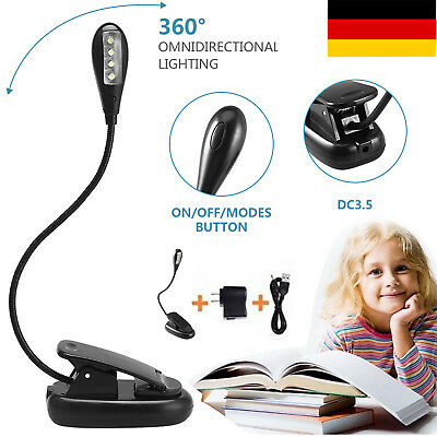 4 LED Clip-on Tischlampe Lampe Klemmlampe Flexible Leselampe USB charge mit EU