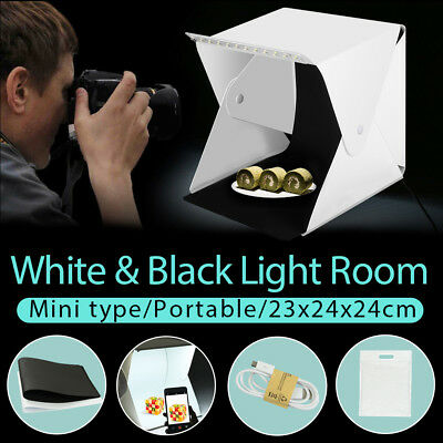 Folding Portable Mini LED Lighting Tent Cube Photography Soft Box W/ 2 Backdrops