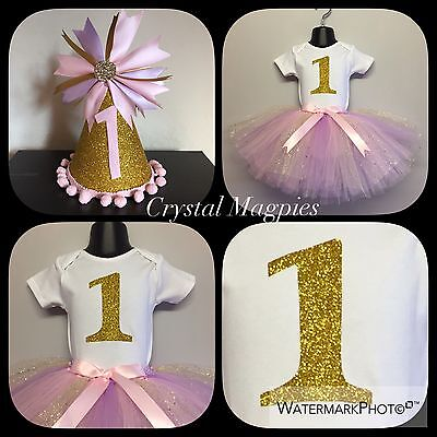 Pink And Gold Glitter Tutu Outfit Cake Smash, First Birthday With Party Hat